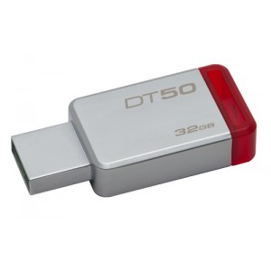 Kingston Technology DataTraveler 50 32GB 32GB USB 3.0 (3.1 Gen 1) Type-A Rojo, Plata unidad flash USB